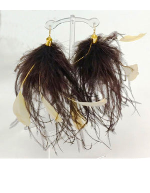 """Kikie"" Brown ostrich & Tan mixed feather drop earrings"