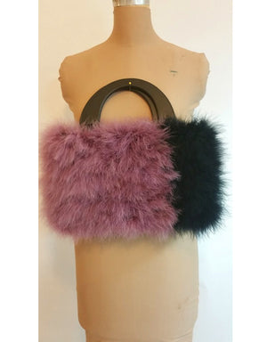 Two-tone Marabou Handbag