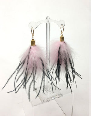 """Blossom"" Pink/Black Ostrich feather drop earrings"