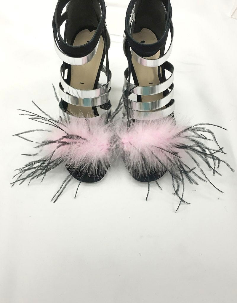 """Blossom"" Pink marabou / black ostrich feather mix shoe clips"