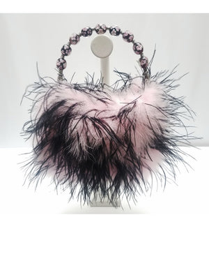 """Bloom"" Pink / Black feather purse with hand painted glass bead handle"