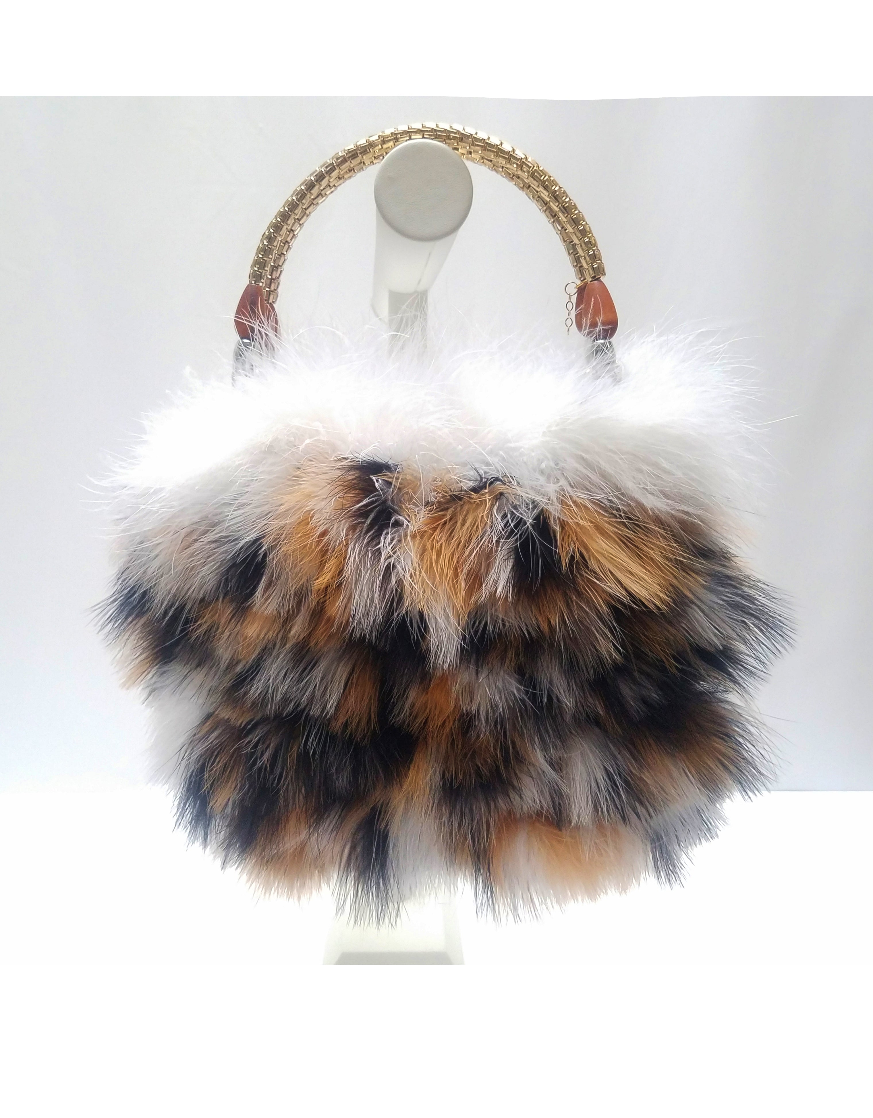 """Natasha"" Natural multi-color marabou feather purse"