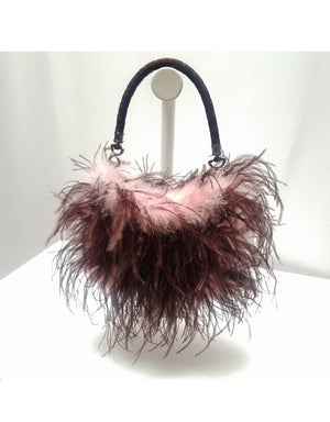 """Blossom"" Marabou & Ostrich feather purse with rope handle"