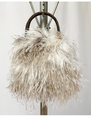 """Bambou"" Natural ostrich feather purse with twisted bamboo handle"