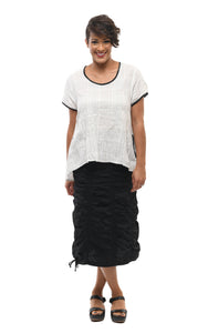 Valencia Skirt in Black Cotton (Elastic Back)