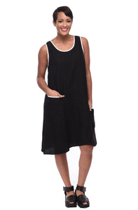 Penny Dress in Black Linen by Snapdragon & Twig (with White Trim - linen)