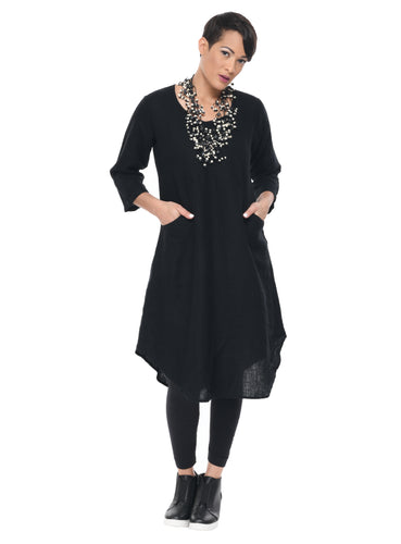 Orbit Dress in Black by Snapdragon & Twig (linen)