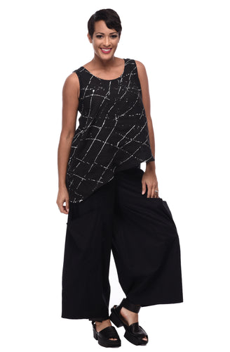 Joy Tank in Black Ink Spot by Snapdragon & Twig (linen)