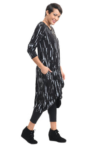 L/S Karma Dress in Black Gray Airbrush by Snapdragon & Twig (Modal)