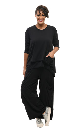 Portia Pant in Solid Black by Snapdragon & Twig (Modal)