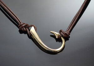 Bronze Large Hook Sideways Necklace