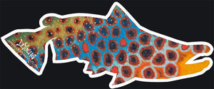 """Brown Trout Flank - Blue Cutout Decal"" by Derek Deyoung"