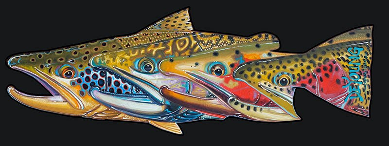 """Fab Four Trout Decal"" by Derek Deyoung"