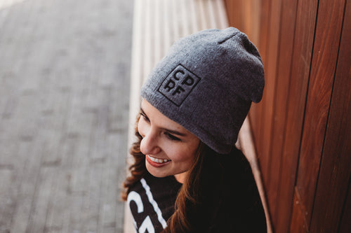 FLEECE-LINED BEANIE CAP - Grey