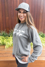 Load image into Gallery viewer, UNISEX SPECIAL BLEND RAGLAN HOODED PULLOVER - Gunmetal Heather