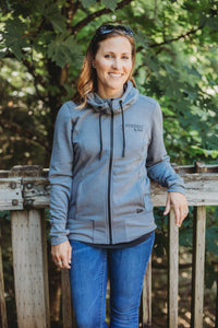 LADIES TRIBLEND FLEECT FULL ZIP HOODIE - Shadow Grey Heather