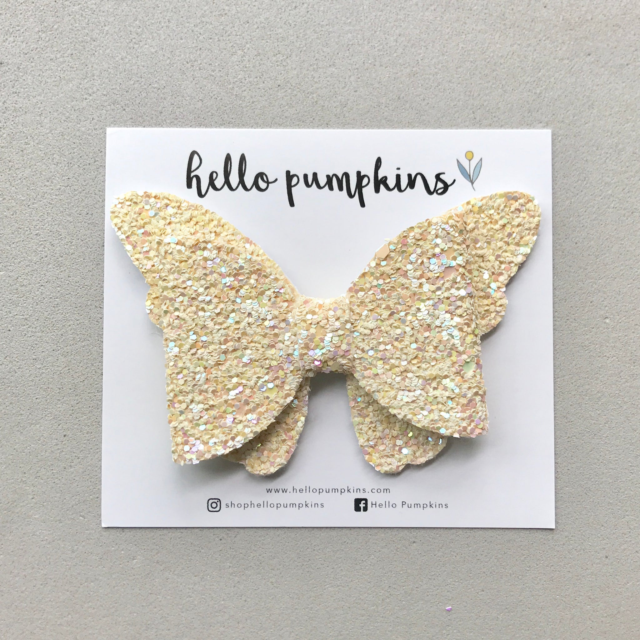 Glitter Flutter Butterfly - Faint Yellow