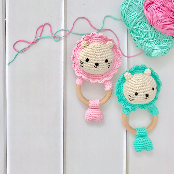 Baby Merlion Rattle (Pink) with Pacifier Clip