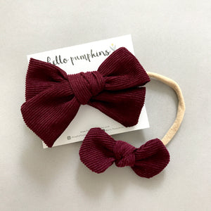 Corduroy Headband Set - Deep Maroon