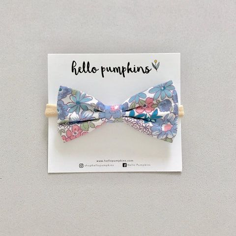 Dainty Floral Bow Headband - Blue