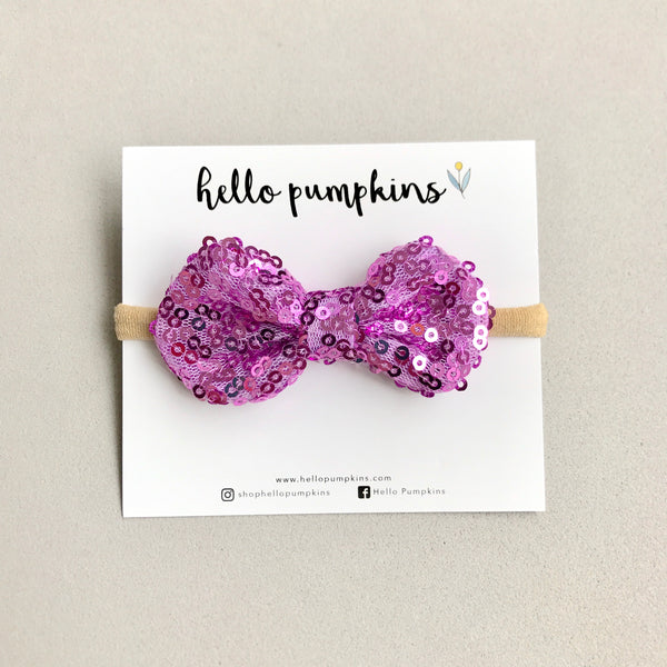 Mini Sequin Bow Headband Set - Party Glam