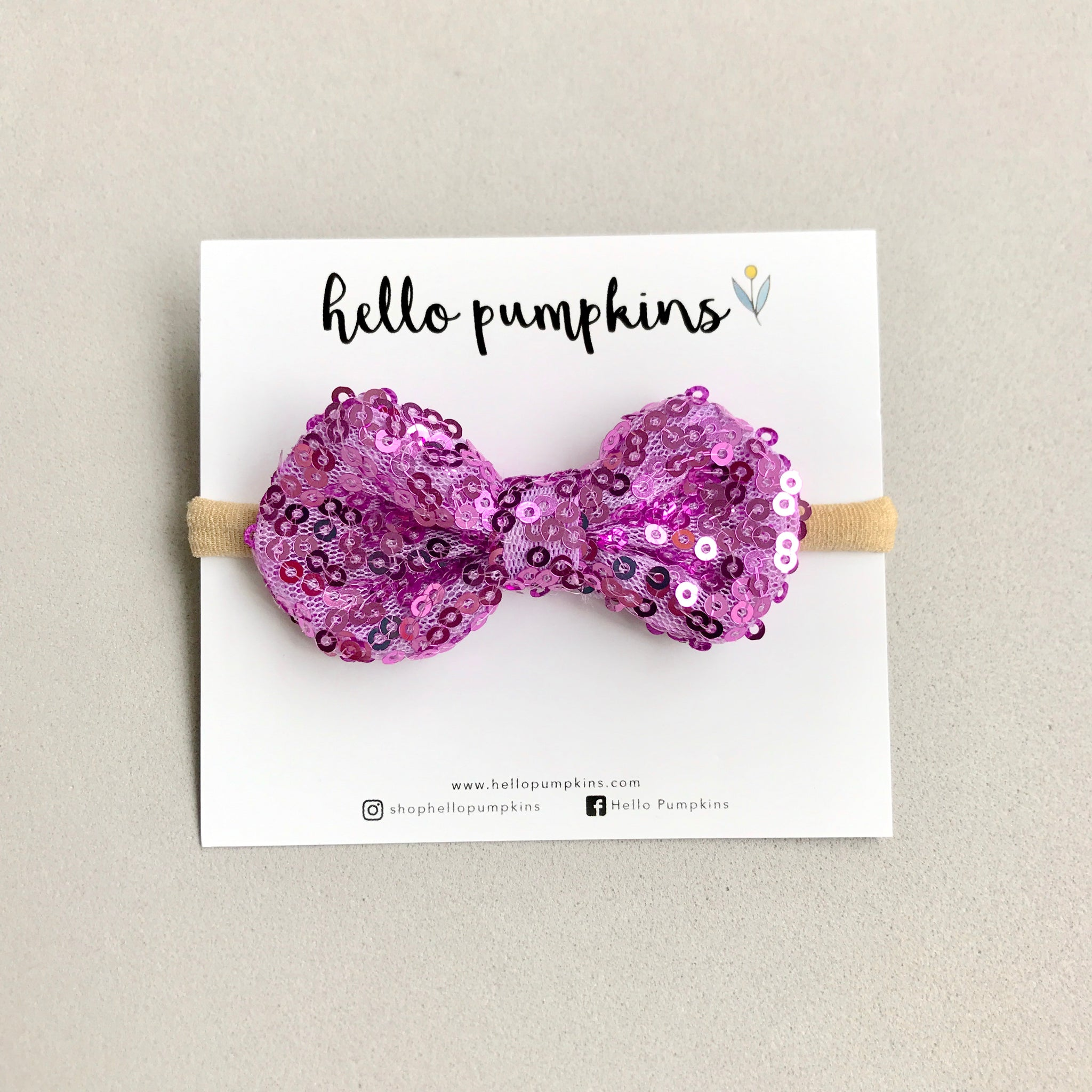 Mini Sequin Bow Headband - Lilac