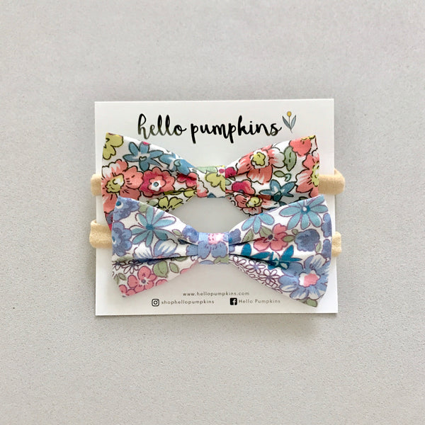 Dainty Floral Bow Headband - Coral