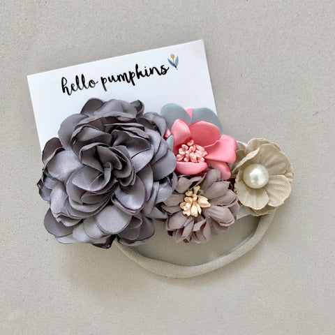 Flower Garden Headband - Grey