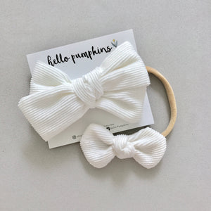 Corduroy Headband Set - White