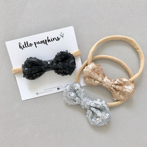 Mini Sequin Bow Headband Set - Glam