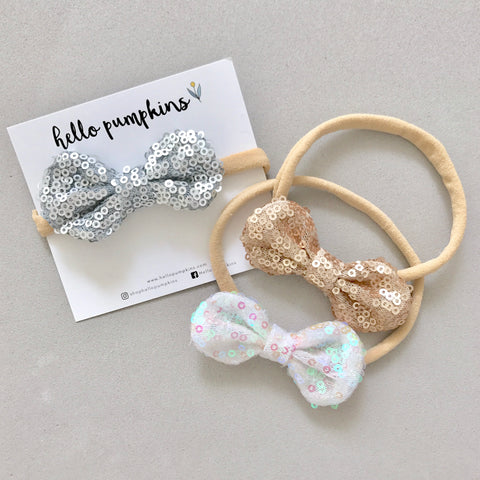 Mini Sequin Bow Headband Set - Glitz