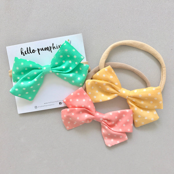 Polka Dot Bow Headband - Green