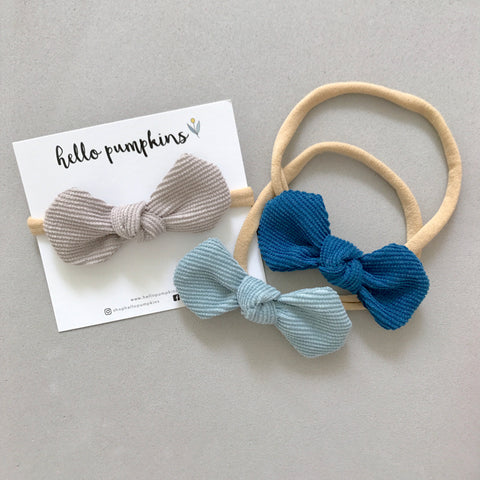 Corduroy Mousey Headband Set - Sky