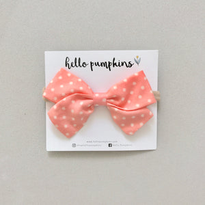 Polka Dot Bow Headband - Coral