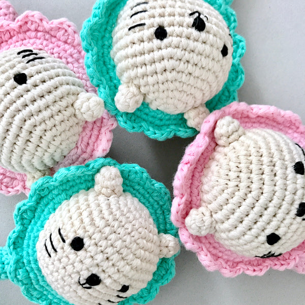 Baby Merlion Rattle (Sea Green) with Pacifier Clip