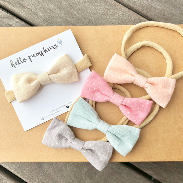Preppy Linen Bow Headband - Cream