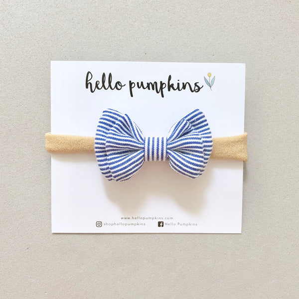 Mary Jane Bow Headband - Blue