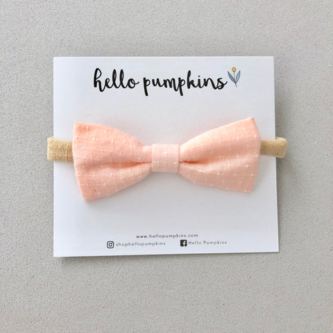 Preppy Linen Bow Headband - Peach