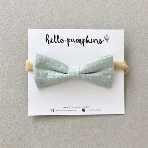 Preppy Linen Bow Headband - Ash Mint