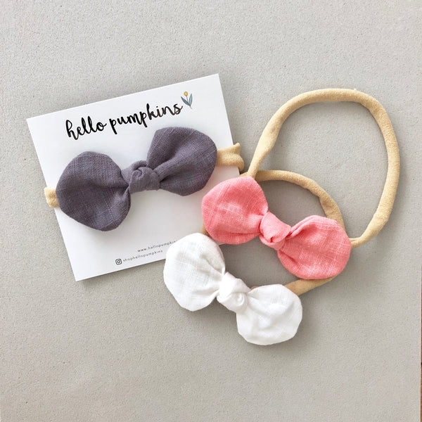 Little Mousey Bow Headband - Coral