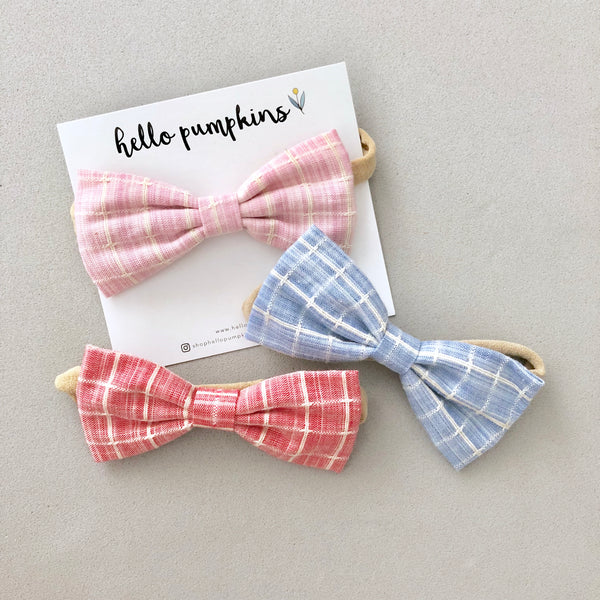 Preppy Bow Headband - Blue