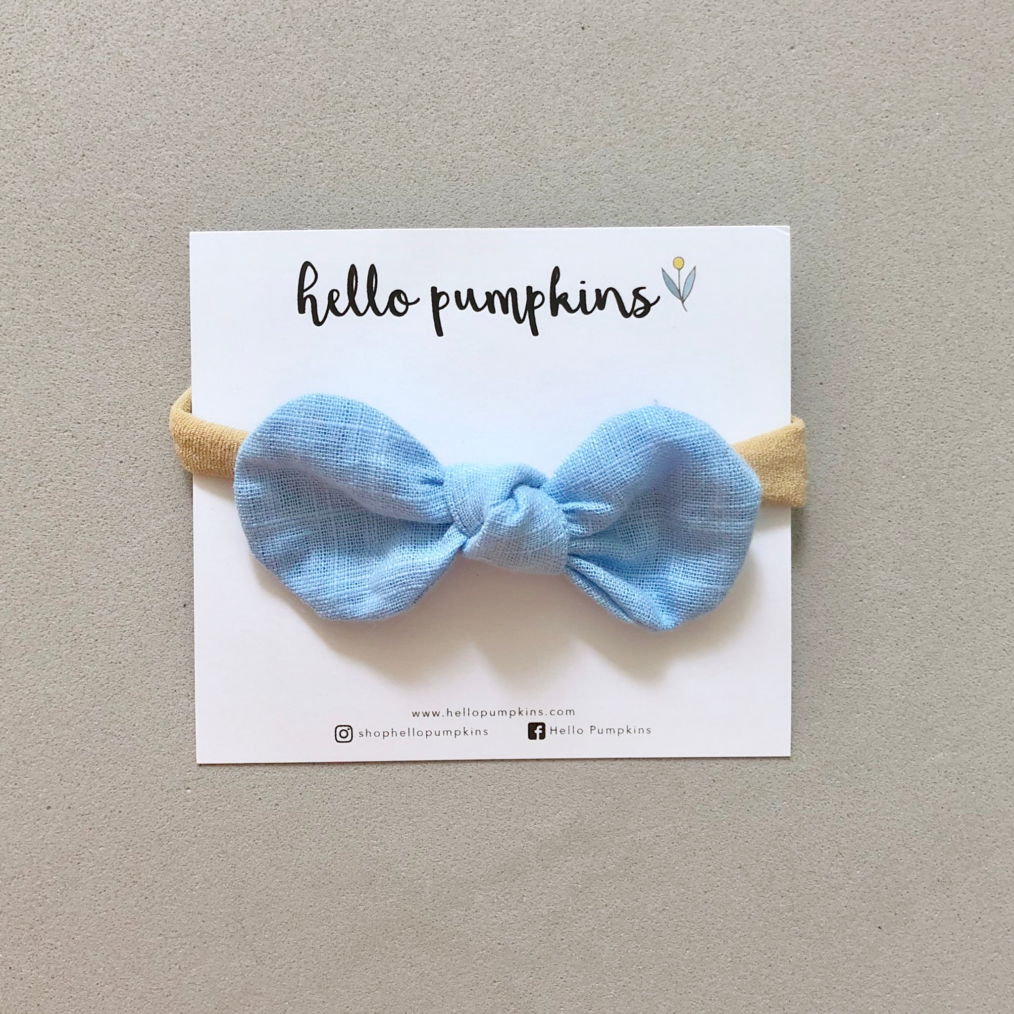 Little Mousey Bow Headband - Sky Blue