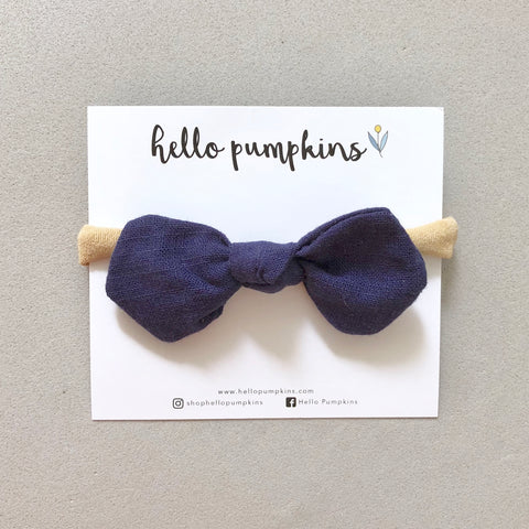 Little Mousey Bow Headband - Deep Blue