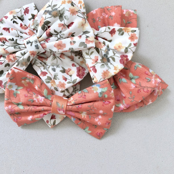 Vintage Florals Bow Headband - White