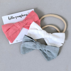 Fay Linen Bow Headband Set - Sweet