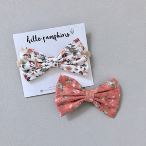 Vintage Florals Bow Headband Set