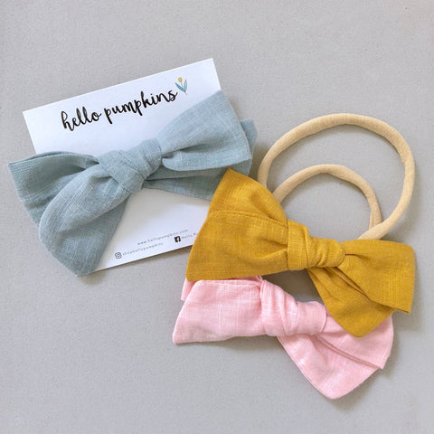 Fay Linen Bow Headband Set - Sass