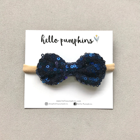 Mini Sequin Bow Headband - Navy Blue