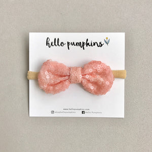 Mini Sequin Bow Headband - Peach