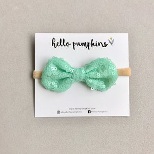 Mini Sequin Bow Headband - Mint